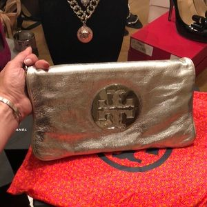 Tory Burch Reva Metallic Silver Clutch
